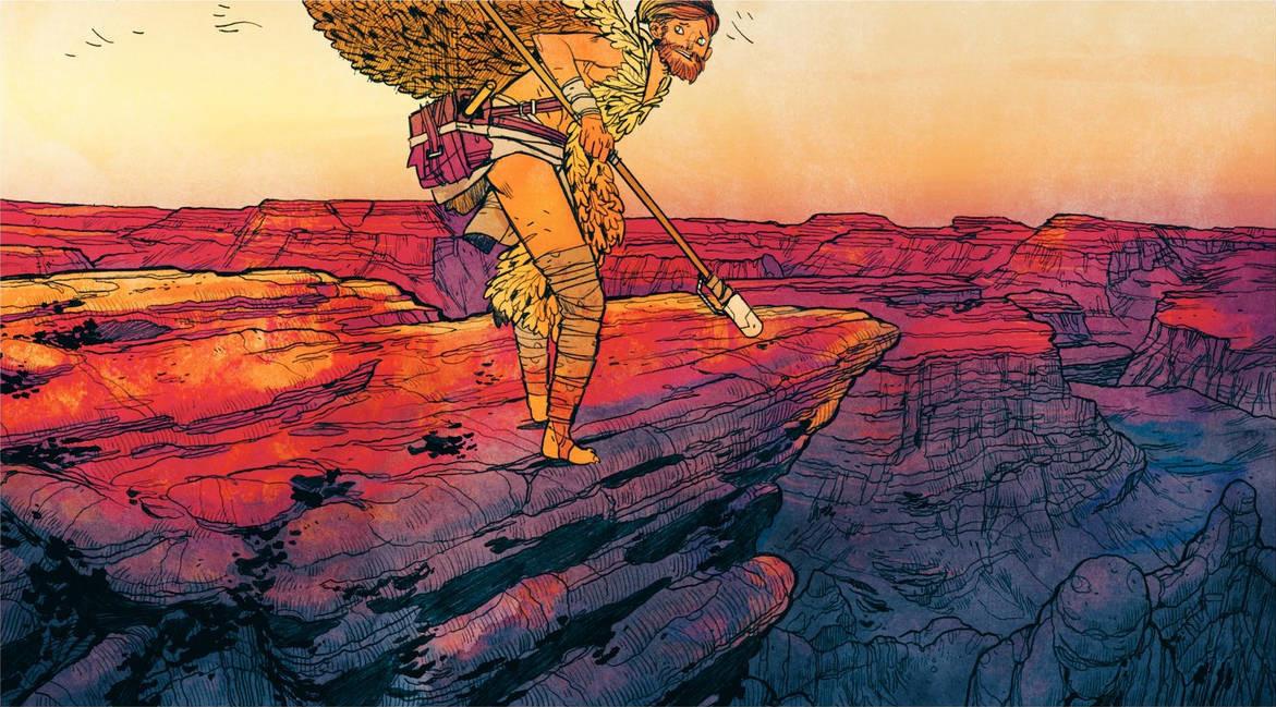 Un personnage de dos qui regarde, effrayé, vers l'arrière, sur le haut d'un canyon violet, rouge et jaune