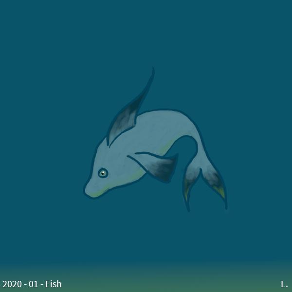 Un poisson bleu clair, avec des nageoires et la queue bleu sombre, dans un environnement bleu, il y a une lueur verte en bas, qui se répercute sur le vente et le bout de la queue du poisson.