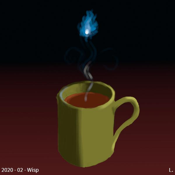 Sur un fond rouge sombre, un mug olive contenant du thé, une volute (wisp) de vapeur sort du thé, et se transforme en will-o'-the-wisp (une petite lueur bleutée entourée de sortes de flammes bleues)