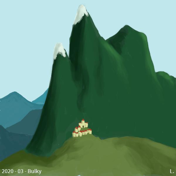 Une très haute montagne verte, avec plusieurs pics - deux sur trois sont enneigés. Au flanc de ladite montagne, un petit village dont les maisons ont des murs jaunes et des toits rouges, il y a un petit château en surplomb. Dans le fond, d'autres montagnes, lointaines, dans les tons bleus.