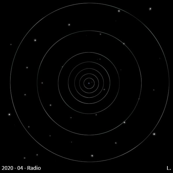 """L'espace, un fond noir, des étoiles scintillantes, et au centre, la Terre (""""pale blue dot"""" :D) et la Lune. À partir de la Terre, des cercles concentriques pâles, qui s'élancent vers l'extérieur."""