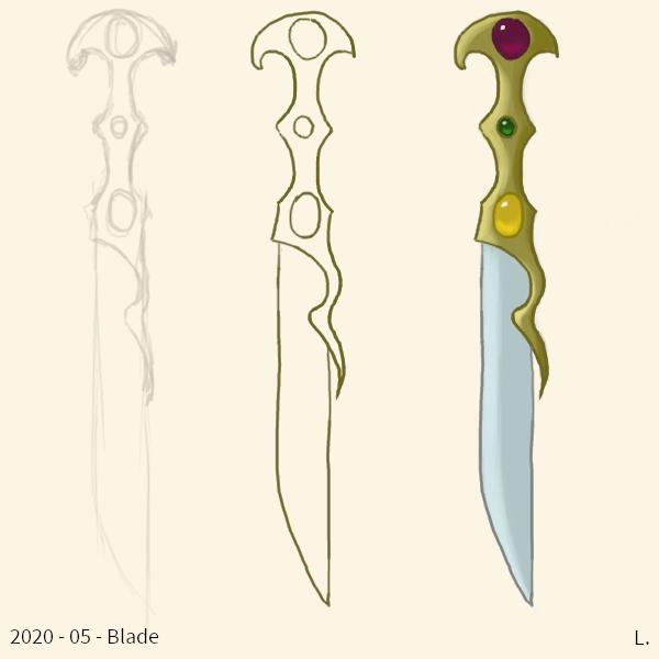 Trois fois la même épée, en crayonné, en ligne claire, et en couleurs. C'est une épée à long manche doré un peu asymétrique, la lame est argentée et tranchante d'un seul côté,  et trois gemmes en cabochon sont serties dans le manche, une violette, une verte et une jaune.