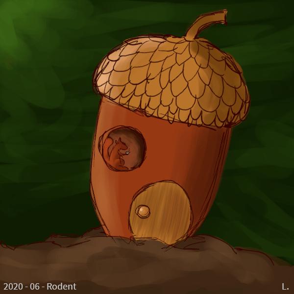 """Une maison-gland plantée dans le sol dans une forêt, il y a une porte ronde à la """"trou de hobbit"""", et une fenêtre ronde par laquelle on voit un écureuil roux avec un bol fumant dans les pattes."""