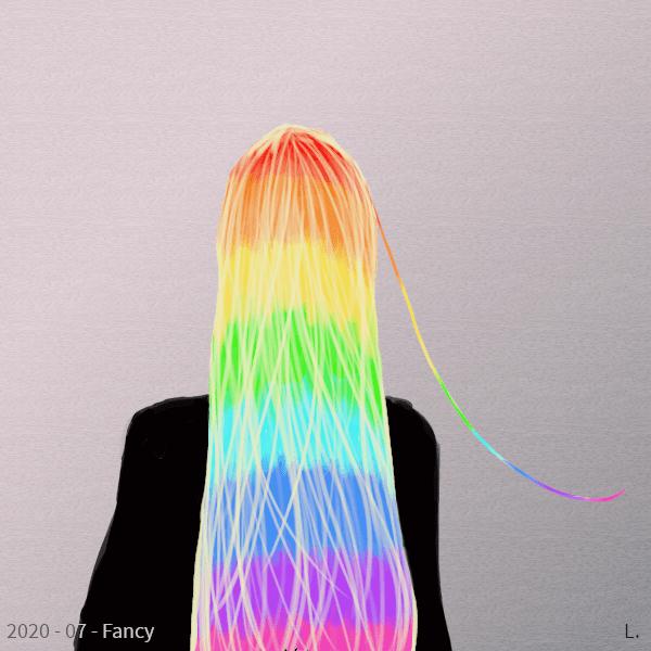 Une femme vue de dos, en habit noir, ses cheveux sont très longs, blonds pâles, et ils laissent transparaître une couche de cheveux colorés en arc-en-ciel. Une mèche arc-en-ciel s'échappe sur la droite.