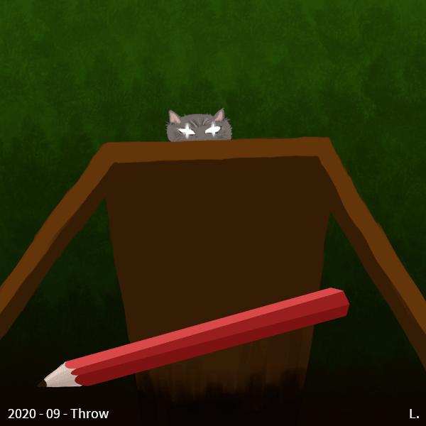 Un crayon rouge est en train de tomber du haut d'une table. On est du point du vue du crayon, la table est haute et loin. Au-dessus, la tête d'un chat dépasse, le regard brillant et vissé sur le crayon.