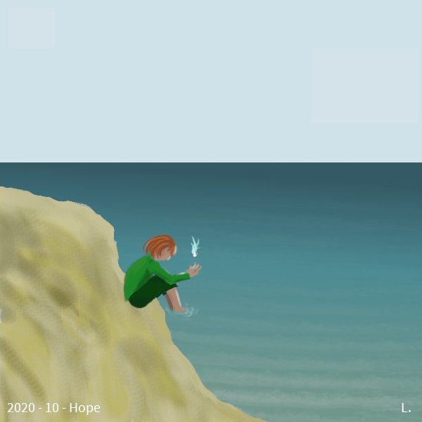 Une plage, la mer froide et grise, une petite fille hâlée rousse, habillée de vert, fait sortir une toute petite lumière magique de sa main.