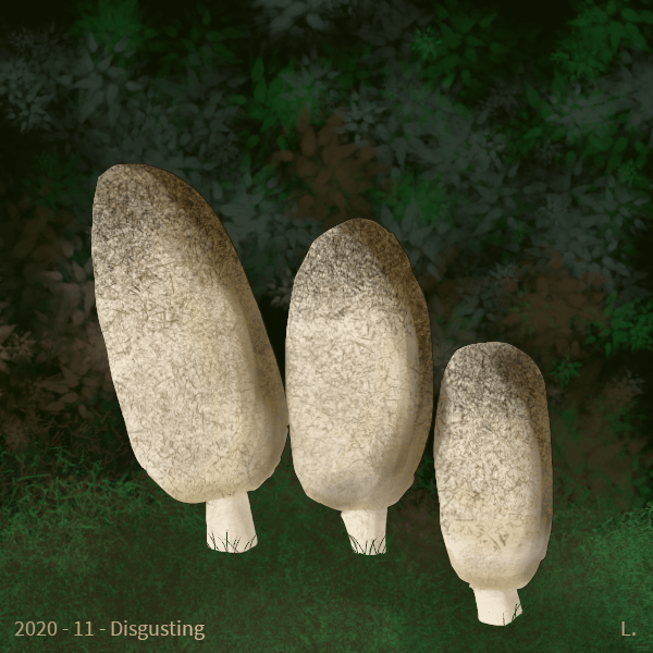 Trois coprins chevelus (champignons beiges craquelées de bruns) sur fond de verdure. L'ensemble n'est pas très photoréaliste.