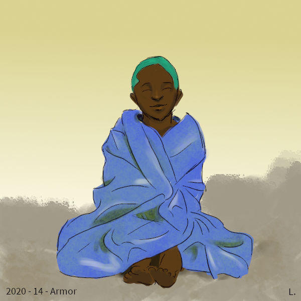Un petit garçon noir souriant, il a des cheveux verts pâles et est délicieusement enveloppé dans une énorme couverture bleue.